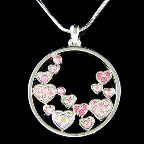 Pink Swarovski Crystal Floating Circle Of Love Heart Necklace