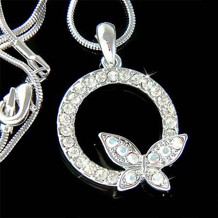 Swarovski Crystal Eternity Circle of Love Butterfly Necklace