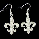 Swarovski Crystal Fleur de Lis Lys Lily Flower Pendant Earrings