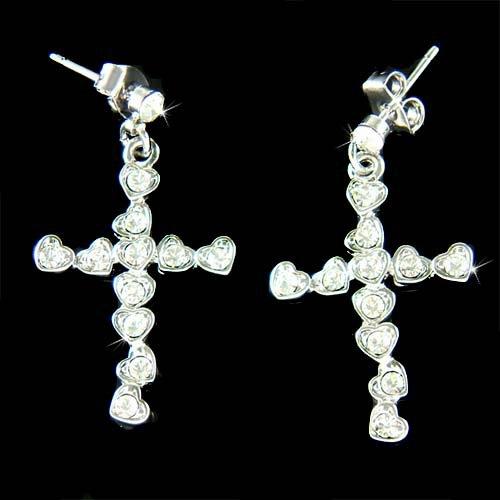Heart Cross Jesus God Religious Love Swarovski Crystal Earrings