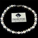 Bridal Swarovski Crystal & White Pearl Anklet for Beach Wedding