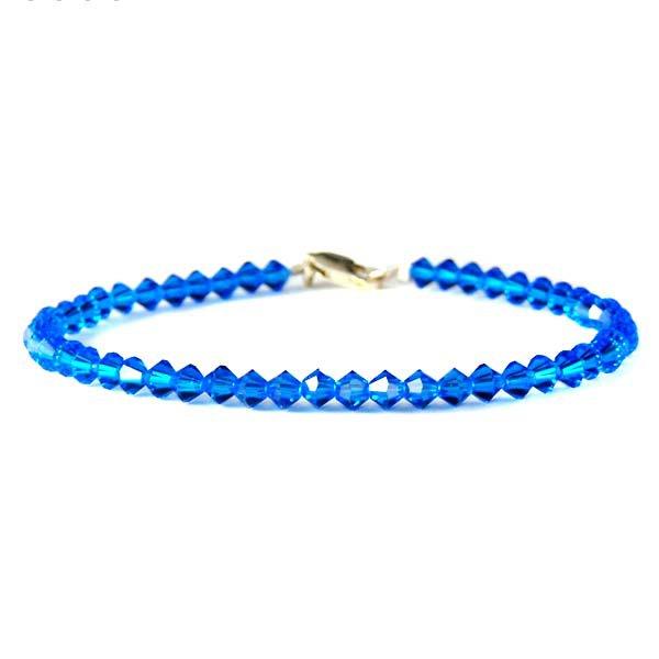 Bridal Wedding Royal Blue Swarovski Crystal .925 Silver Bracelet
