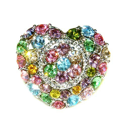 Rainbow Love Heart Flower Swarovski Crystal Cocktail Ring