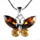 Bridal Topaz Brown Butterfly Swarovski Crystal Pendant Necklace