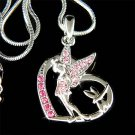 Pink Swarovski Crystal Tinkerbell Fairy Dragonfly Heart Necklace