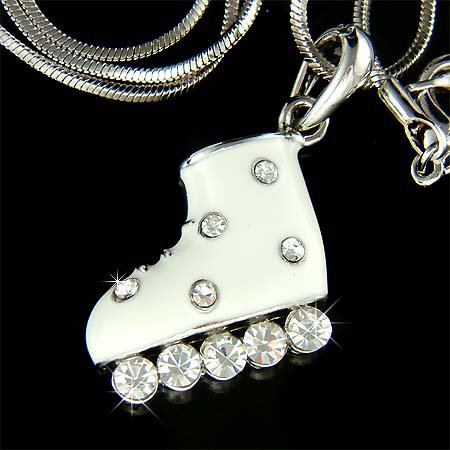 Hockey Ice Roller Skate Skating Shoes Swarovski Crystal Necklace