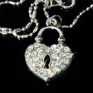 Key to My Heart Swarovski Crystal Love Padlock Pendant Necklace