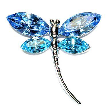 Aqua Blue Swarovski Crystal Bridal Wedding Dragonfly Pin Brooch