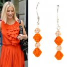 Light Peach Orange Swarovski Crystal Sterling Silver Earrings
