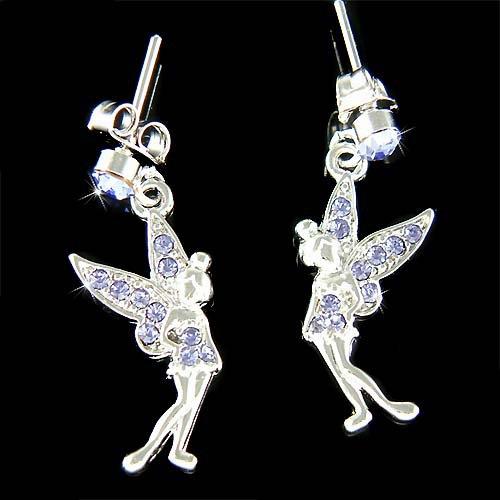 Couture Purple Swarovski Crystal Tinkerbell Fairy Pixie Earrings
