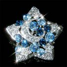 Swarovski Crystal Blue Crescent Moon Star Pendant Pin Brooch
