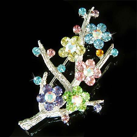 Swarovski Crystal Bridal Rainbow Flower Bouquet Pin Brooch