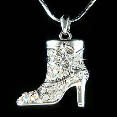 Classy High Heel Boots Shoes Swarovski Crystal Pendant Necklace