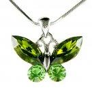 Christmas Green Butterfly Swarovski Crystal Pendant Necklace