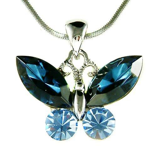 Cute Navy Dark Blue Swarovski Crystal Butterfly Pendant Necklace