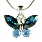 Cute Navy Dark Blue Swarovski Crystal Butterfly Pendant Necklace
