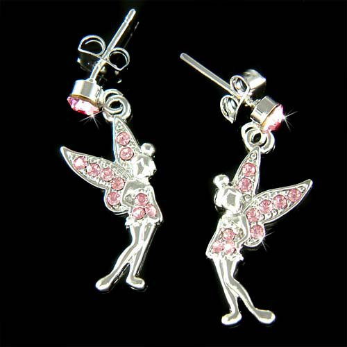 Couture Pink Swarovski Crystal Tinkerbell Fairy Pixie Earrings