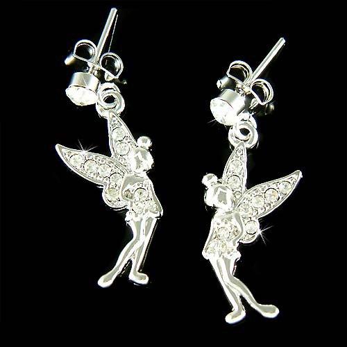 Bridal Wedding Swarovski Crystal Tinkerbell Fairy Pixie Earrings