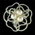 Classy Bride Swarovski Crystal & Pearl Cutout Rose Flower Brooch