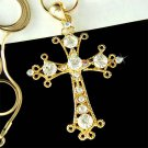 Gold Swarovski Crystal Cross Jesus Christ God Religious Necklace