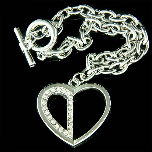 Swarovski Crystal Dangle Cut Out Heart Toggle Bracelet