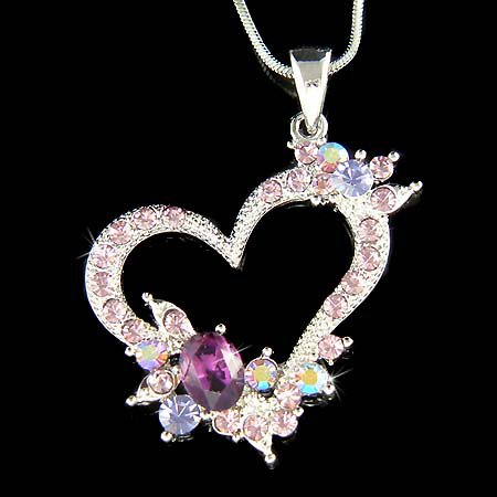 Classy Purple Swarovski Crystal Cut-Out Heart Pendant Necklace