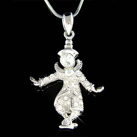 Swarovski Crystal Magic Circus Funny Face Clown Pendant Necklace