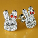 Cute Easter Girl Bunny Rabbit Swarovski Crystal Stud Earrings