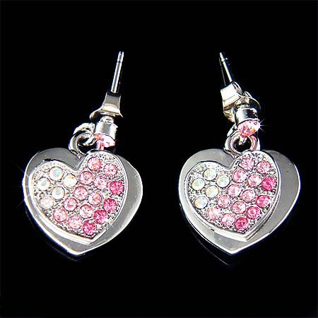 Pink Swarovski Crystal Bridal Wedding Valentine 2 Heart Earrings