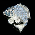 Navy Blue Fish Swarovski Crystal Brooch for Fishing Lover