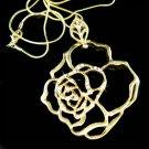 Gold Cut-out Rose Flower Leaf Swarovski Crystal Pendant Necklace