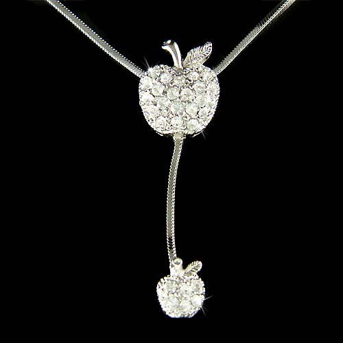 Juicy Apple Mother Baby Swarovski Crystal Pendant Chain Necklace