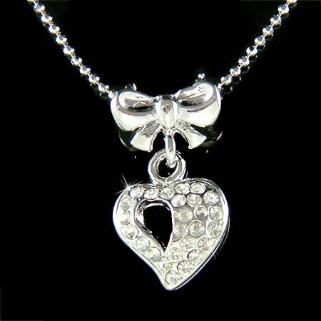 Elegant Swarovski Crystal Little Love Heart Bow Pendant Necklace