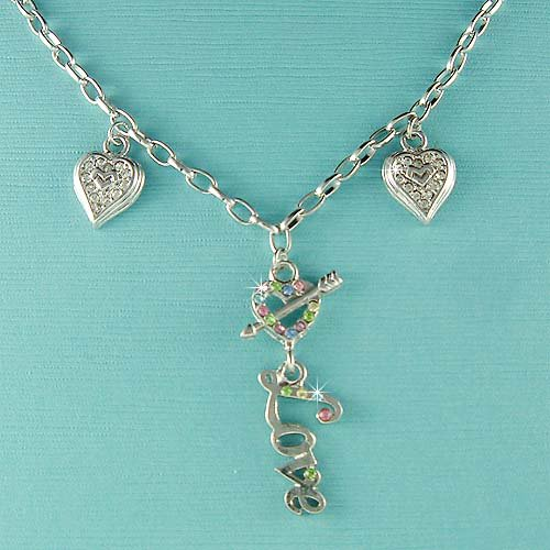 Cute Swarovski Crystal Double Heart and Arrow Love Word Necklace