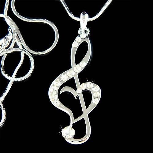 Swarovski Crystal Heart Treble Clef Music Note Pendant Necklace