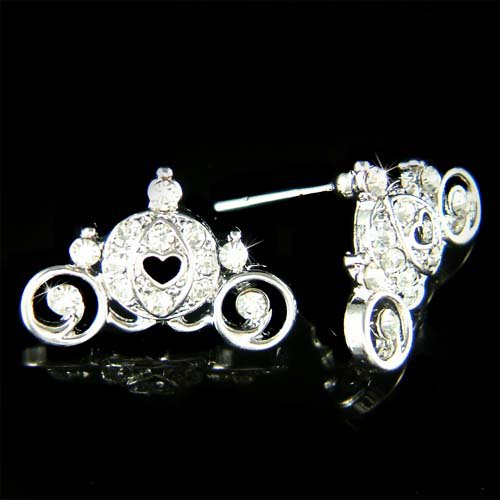 Cinderella Pumpkin Carriage Coach Swarovski Crystal Earrings