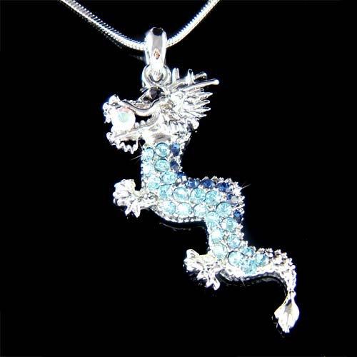 Legendary Myth Blue Dragon Swarovski Crystal Pendant Necklace
