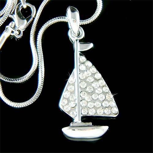 Swarovski Crystal Ocean Sea Vacation Nautical Sailboat Necklace