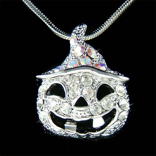 Swarovski Crystal Halloween Jack-o-Latern Pumpkin Charm Necklace