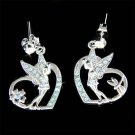 Swarovski Crystal Tinkerbell in Love Cutout Heart Fairy Earrings