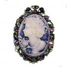 2 in 1 Big Antique Purple Cameo Swarovski Crystal Pendant Brooch