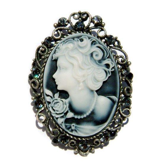 2 in 1 Big Antique Black Cameo Swarovski Crystal Pendant Brooch
