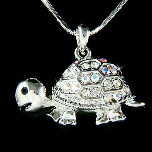 Cute Swarovski Crystal Tortoise Turtle Wildlife Pendant Necklace
