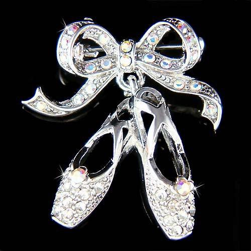 Swarovski Crystal Ballerina Slippers Ballet Dance Shoes Brooch