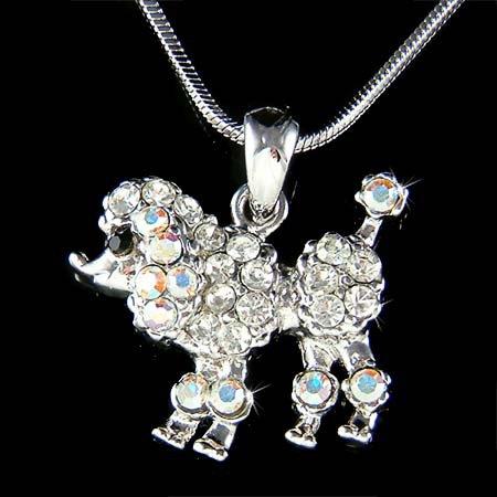 Petit White French Poodle Dog Swarovski Crystal Pendant Necklace