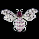 Purple Swarovski Crystal Wild Bumble Honey Bee Insect Pin Brooch