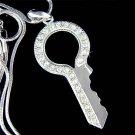 Swarovski Crystal Clear Pave Lock Key to my Heart Charm Necklace