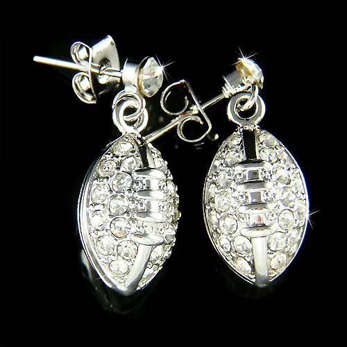 Swarovski Crystal American Football Gridiron Pierced Earrings