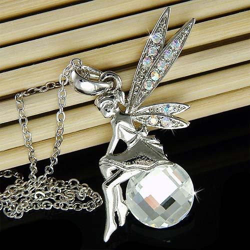 Swarovski Crystal Tinkerbell Magic Ball Tinker Pendant Necklace