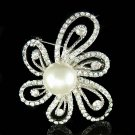 Swarovski Crystal Pearl Filigree Flower Wedding Dress Pin Brooch